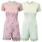 Ladies Womens Catsuit Floral Lace Lined Cut Out Playsuit