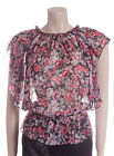 New Carbon Blouse Top Size 12 14 16 in Black with Red & Grey Flowers Sheer