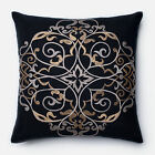 Embroirdered Cotton Black/ Taupe Filigree Feather and Down Filled or Polyester F
