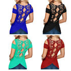 Fashion Short Sleeve Plus Size Shoulder-off Cotton Lady Blouse T Shirt Lace Tops