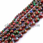 6-14mm Round Multicolor Stone Gemstone For Diy Jewelry Making Loose Beads 15""