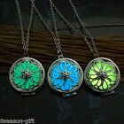 Gift Gold Plated Hollow Luminous Folwer Petals Round Locket Pendant Necklace