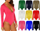 Womens V Neck Plain Jersey Stretch Bodysuit Ladies Long Sleeve Leotard Top 16-22