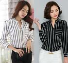Long Sleeve Striped Women Chiffon Shirts Blouse V-Neck  -XS S M L XL 2XL