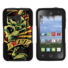For Alcatel Pop Star 2| Pop Nova| Hybrid Hard Bumper Stand Case Punk Skulls