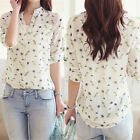Fashion Women Chiffon Tops Floral Print Long Sleeve Blouse Casual T Shirt Vest