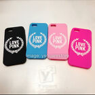 Apple iPhone 55s 66s Plus LOVE PINK LEAF VS Victoria's Secret Silicone Soft Case