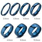 Polished Men's Womens Blue Stainless Steel Band Wedding Ring Size US5-13 Gift