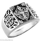 925 Sterling Silver Knights Templar Crest No Stone Black Enamel Men Ring Sz 8-14