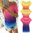 Summer Womens Gradient Casual Short Sleeve Loose T-shirt Boat Neck Tops Blouse