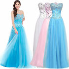 Long Formal Wedding Ball Gown Bridesmaid Prom Evening Party Cocktail Beads Dress