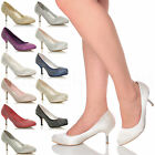 WOMENS LADIES MID HIGH KITTEN HEEL DIAMANTE WEDDING PROM COURT SHOES PUMPS SIZE