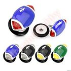 16G FootBall Fake Cheater Ear Piercing Plug CHOOSE SINGLE OR PAIR