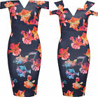 Womens Off Shoulder Party Dress Ladies Floral Print Sleeveless Bodycon Mini 8-14
