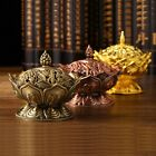 Chinese Buddhism Lotus Incense Burner Mini Alloy Censer Craft Home Decor XHH8014