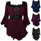 Fashion Women Long Sleeve Cotton Casual Loose Lace Up T-Shirt Tops Blouse Plus