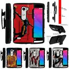For LG Power | Destiny | Risio Rugged Holster Clip Stand Case Basketball on Fire