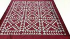 Queen size Red and white machine pieced Patchwork quilt Top / #J-77