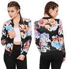 Womens Floral Long Sleeve Bomber Jacket Ladies Zip Rose Print Round Neck 8-14