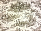 TOILE DE JOUY NATURAL A70 COTTON CURTAIN FABRIC FRENCH JUE  HUNTING VINTAGE