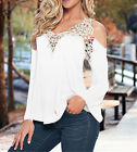 Plus Size S-5XL Womens Lace Long Sleeve Loose Blouse Shirts Summer Tee Tops