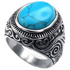 MENDINO Mens Stainless Steel Ring Classic Vintage Turquoise Band Blue Silver