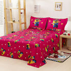 MINIONS New Flat/Fitted Sheet Set Pillow Cases Double/Queen Bed Size Linen