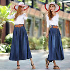 Elegant Women A-Line Long Denim Maxi Skirts Modest Jean Skirts With Belt Dress