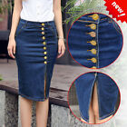 New Women Front  Button Slit High Waisted Vintage Denim Knee Pencil Jean Skirts