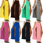 Womens High Waist Long Party Cotton Dress Ladies Double Side Split Maxi Skirt