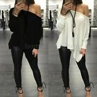 Fashion Womens Cotton Tops Loose Casual Off Shoulder Long Sleeve T Shirt Blouse