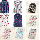Vintage Women Long Sleeve Cotton Tops Casual Loose Floral Shirt Fashion Blouse A