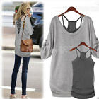 Fashion Women's Loose Casual Cotton Long Sleeve T Shirt Tops Back Hollow Blouse