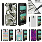 For HTC Desire 520 Case Hard Snap On 2 Piece Slim Shell Swamp Camouflage