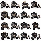 New Fashion Women Gold Crystal Bridal Necklace Earring Ring Bracelet Jewelry Set