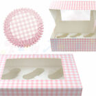 Culpitt Pink Gingham Cupcake CASES or BOXES & inserts Baking/Muffin/Bun/Cake