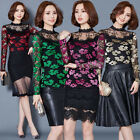 Delicate Women Lace Flowers Blouse Tops New Office Lady Long Sleeve Tee Shirts