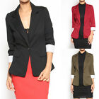 TheMogan Women's Casual Work Office Cuffed 3/4 Sleeve Comfortable Stretch Blazer