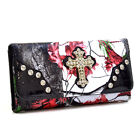 Faux Patent Leather Wallet Rhinestone Studded Purse Cross Trifold Long Wallet