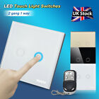 2 Gang 1 Way Smart Touch Remote Control Wall Light Switch Crystal Glass Panel UK