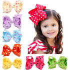 4.5 Inch Hair Bow Bowknot Dot Girls Baby Boutique With Clips