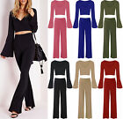 Womens Bell Sleeve Wrap Over Crop Top Ladies Wide Leg Palazzo Trouser Pants Set