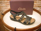 Clarks Leisa Apple Black Leather Multi-strap Sandals NEW