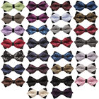 Adjustable Men Bow Tie Diamond Tip Leather Centre PreTied Evening Work Man Ties