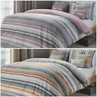 Textured Stripe Print in Striking Colours - Duvet Cover with Pillowcase Set