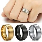 New 8mm Stainless Steel Ring Men/Women's Wedding Band Silver Black EN24H