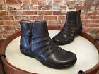 Clarks Brown Ruched Leather Kearns Blush Zipper Ankle Boots NEW