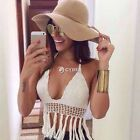 NEW Women Sexy Lace Crochet Swimwear Crop Tank Summer Beach Tops Shirt Blouse
