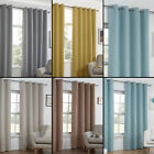 TEXTURED WOVEN PLAIN THERMAL BLACKOUT LINEN LOOK EYELET RING TOP PAIR CURTAINS