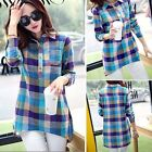 Women Lady Plaid Checked Long Sleeve Casual Loose T shirt Tops Blouse DZ88